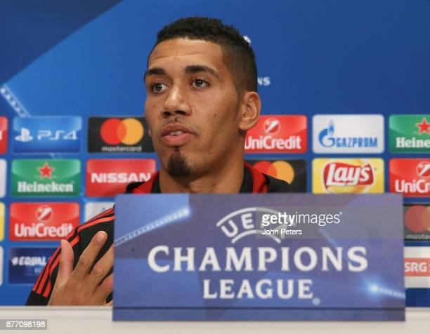 Chris Smalling of Manchester United speaks during a press conference at St Jacob Stadium on November 21 2017 in Basel Switzerland