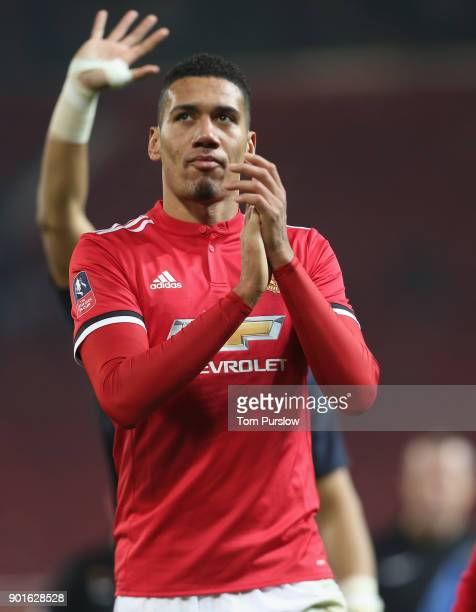 Chris Smalling of Manchester United walks off after the Emirates FA Cup Third Round match between Manchester United and Derby County at Old Trafford...