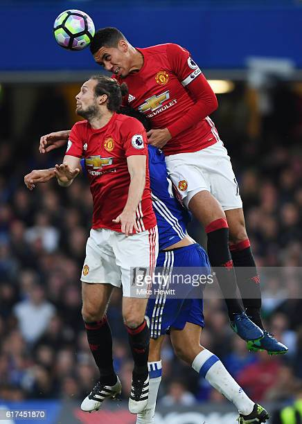 Chris Smalling of Manchester United wins a header during the Premier League match between Chelsea and Manchester United at Stamford Bridge on October...