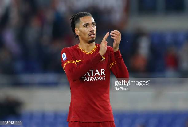 Chris Smalling of Roma greeting the supporters during the Serie A match AS Roma v Brescia Fc at the Olimpico Stadium in Rome Italy on November 24 2019
