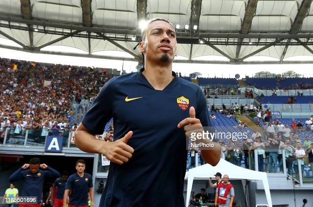 Chris Smalling of Roma taking the field before the Serie A match AS Roma v SS Lazio at the Olimpico Stadium in Rome Italy on September 1 2019