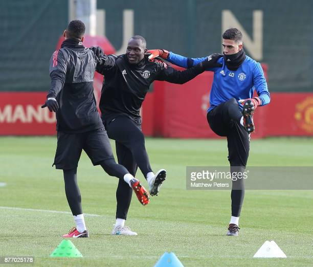 Chris Smalling Romelu Lukaku and Joel Pereira of Manchester United in action during a first team training session at Aon Training Complex on November...