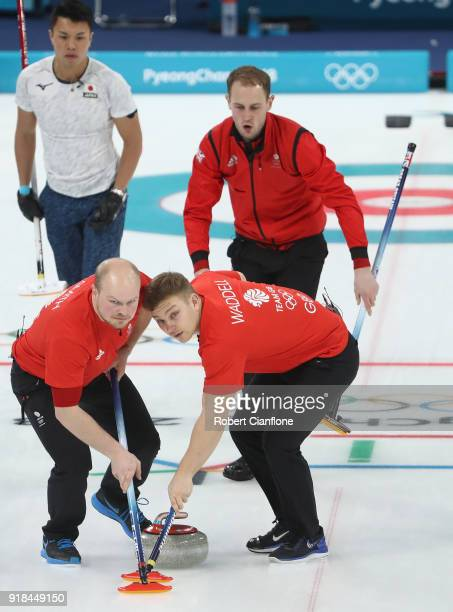 Chris Smith Kyle Waddell and Kyle Smith of Great Britain compete compete during the Curling Men's Round Robin Session 3 held at Gangneung Curling...