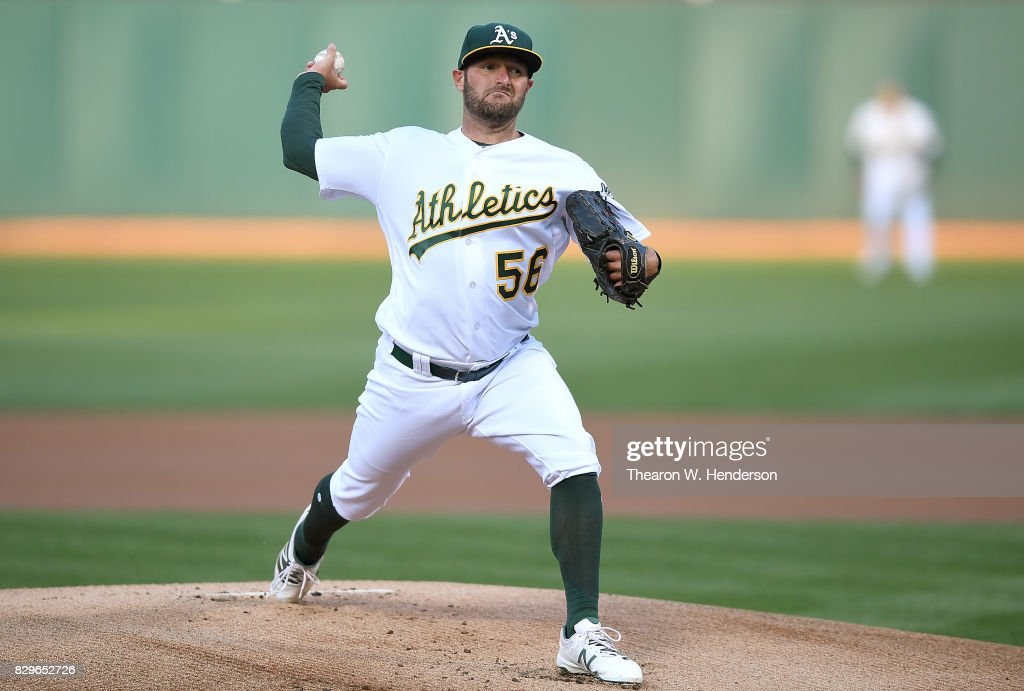 Chris Smith #56 of the Oakland Athletics pitches against the Baltimore Orioles in the top of the first inning at Oakland Alameda Coliseum on August 10, 2017 in Oakland, California.