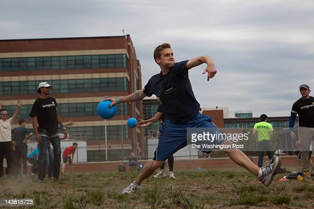 Chris Smyth winds up to hurl a dodgeball in a Democrats versus Democrats playoff game Living Social Zog Sports Flying Dog and DC Brau held a...