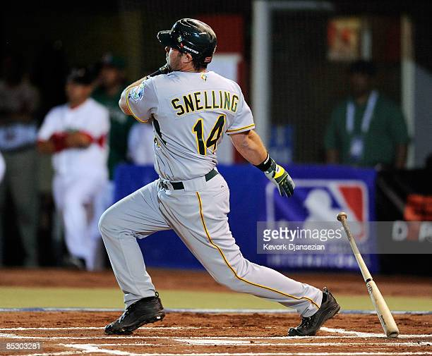 Chris Snelling of Australia hits a home run off pitcher Oliver Perez of Mexico during the first inning of the 2009 World Baseball Classic Pool B...