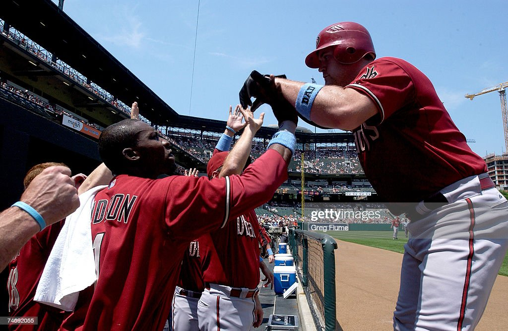 Chris Snyder #19 of the Arizona Diamondbacks is congratulated by Orlando Hudson #1 after hitting a home run against the Baltimore Orioles on June 17, 2007 at Camden Yards in Baltimore, Maryland.