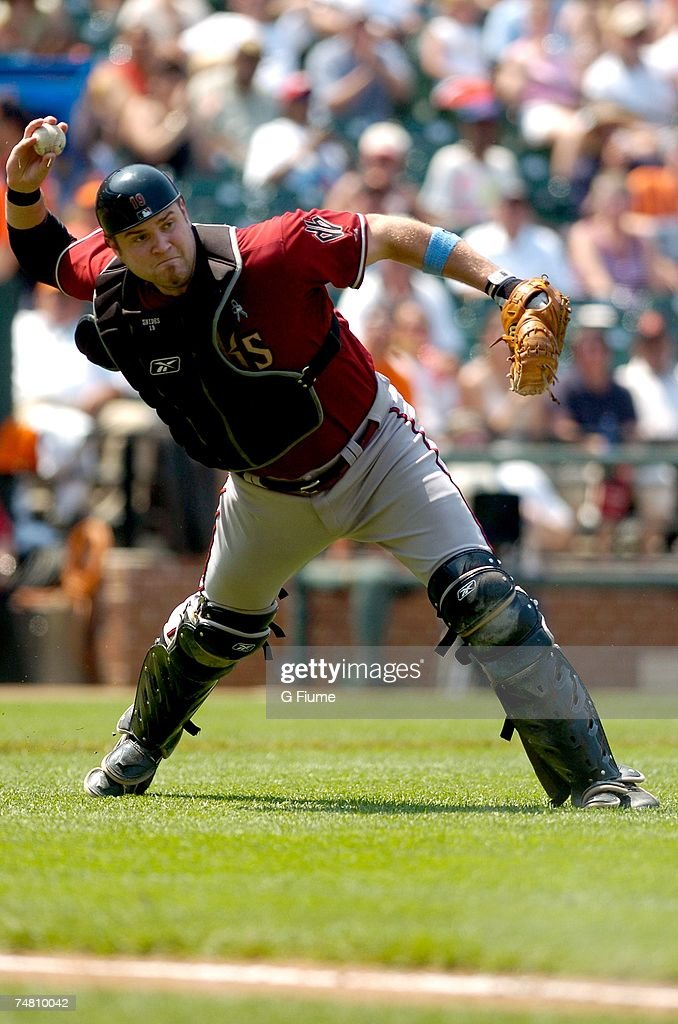 Chris Snyder #19 of the Arizona Diamondbacks throws the ball to first base against the Baltimore Orioles at Camden Yards June 17, 2007 in Baltimore, Maryland.