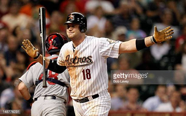 Chris Snyder of the Houston Astros reacts after striking out in the fifth inning against the St Louis Cardinals on June 5 2012 at Minute Maid Park in...