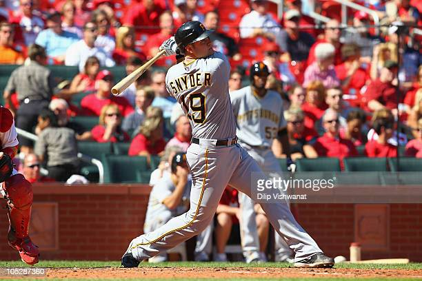 Chris Snyder of the Pittsburgh Pirates in action against the St Louis Cardinals at Busch Stadium on September 29 2010 in St Louis Missouri