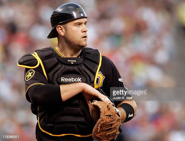 Chris Snyder of the Pittsburgh Pirates looks on against the Philadelphia Phillies during the game on June 3 2011 at PNC Park in Pittsburgh...