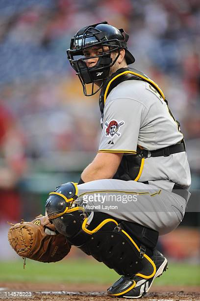 Chris Snyder of the Pittsburgh Pirates looks on during a baseball game against the Washington Nationals on May 16 2011 at Nationals Park in...