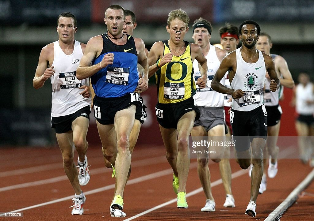 Chris Solinsky runs ahead of Robert Curtis and Galen Rupp in the men's 5,000 meter preliminary round during day one of the U.S. Track and Field Olympic Trials at Hayward Field on June 27, 2008 in Eugene, Oregon.