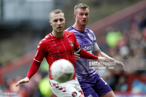Chris Solly of Charlton Athletic and Chris Brunt of West Bromwich Albion during the FA Cup Third Round match between Charlton Athletic and West...