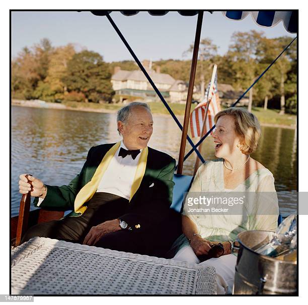 Chris Sonne, town historian and wife Sally Sonne are photographed for Town & Country Magazine on September 8, 2011 in their 1097 Elco Electric ferry...