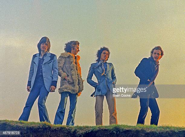 Chris Spedding, Marty Simon, Andy Fraser and Snips , of Sharks photographed at Beachy Head on February 7th 1973.