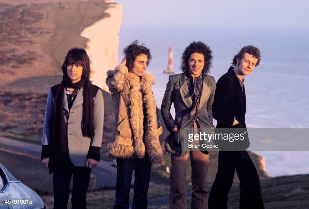 Chris Spedding Marty Simon Andy Fraser and Snips of Sharks photographed at Beachy Head on February 7th 1973