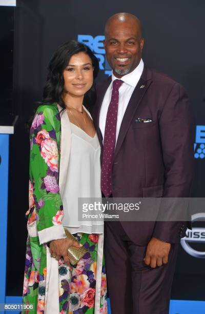 Chris Spencer and Vanessa Rodriguez attend the 2017 BET Awards at Microsoft Theater on June 25 2017 in Los Angeles California