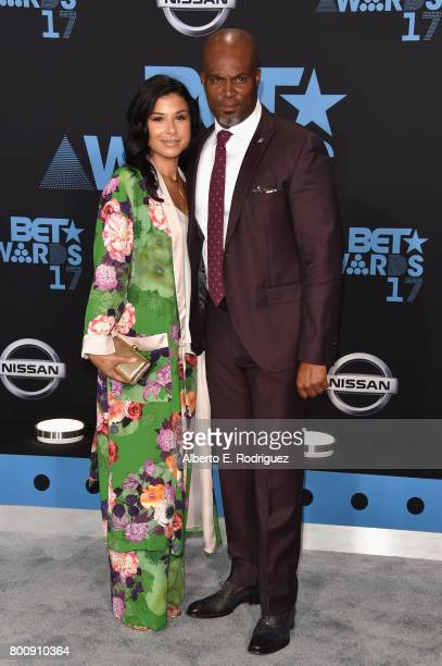 Chris Spencer and Vanessa Rodriguez Spencer at the 2017 BET Awards at Microsoft Square on June 25 2017 in Los Angeles California