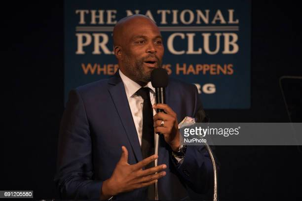 Chris Spencer Comedian actor writer and Master of Ceremonies speaks at Vote It Loud's second annual Multicultural Media Correspondents Dinner at the...