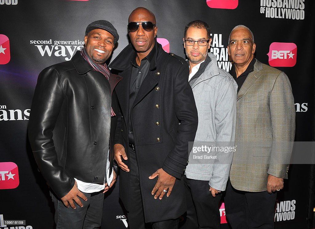 Chris Spencer, JB Smoove, Jesse Collins and Stan Lathan attend BET Networks New York Premiere Of 'Real Husbands of Hollywood' And 'Second Generation Wayans' at SVA Theater on January 14, 2013 in New York City.