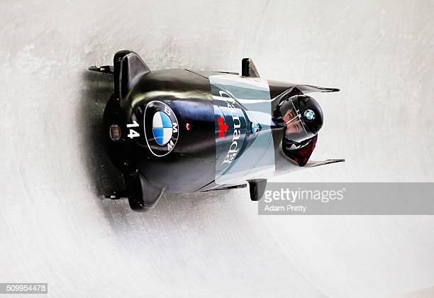 Chris Spring and Lascelles Brown of Canada complete their first run in the Men's 2man Bobsleigh during Day 2 of the IBSF World Championships for Bob...