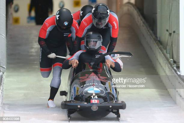 Chris Spring of Canada competes with Cameron Stones, Joshua Kirkpatrick and Neville Wright at Deutsche Post Eisarena Koenigssee during the BMW IBSF...