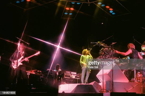 Chris Squire Rick Wakeman Jon Anderson and Alan White of Yes performs on stage at Wembley Arena on October 28th 1978 in London England