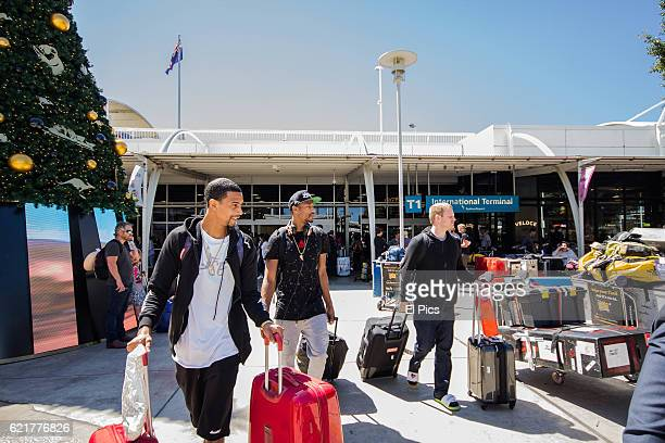 Chris Staples and Guy Dupuy are seen upon arrival at Sydney Airport on November 6 2016 in Sydney Australia
