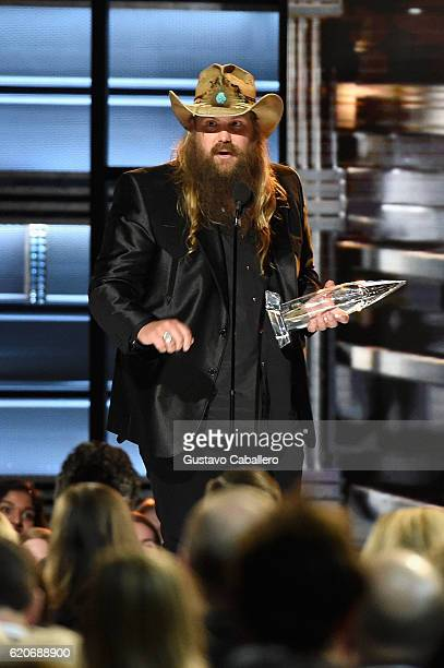 Chris Stapleton accepts the award for Male Vocalist of the Year onstage at the 50th annual CMA Awards at the Bridgestone Arena on November 2 2016 in...