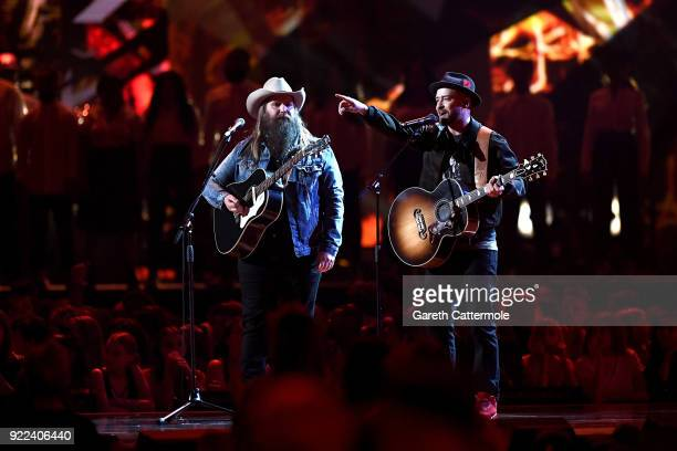 AWARDS 2018 *** Chris Stapleton and Justin Timberlake perform at The BRIT Awards 2018 held at The O2 Arena on February 21 2018 in London England