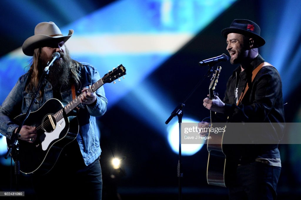 8df6b7a4b9cd Chris Stapleton and Justin Timberlake perform on stage at The BRIT ...