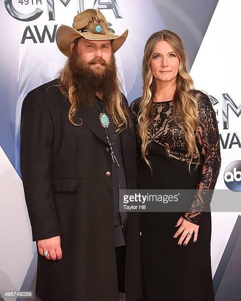 Chris Stapleton and Morgane Stapleton attend the 49th annual CMA Awards at the Bridgestone Arena on November 4 2015 in Nashville Tennessee