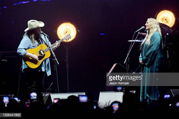 Chris Stapleton and Morgane Stapleton perform at All for the Hall Under the Influence Benefiting the Country Music Hall of Fame and Museum at...