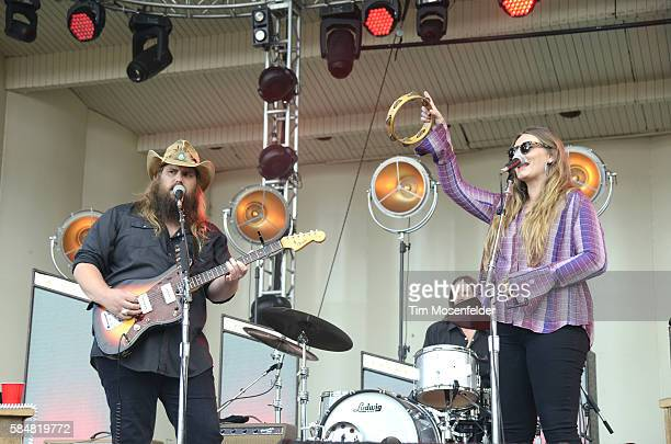 Chris Stapleton and Morgane Stapleton perform during Lollapalooza at Grant Park on July 30 2016 in Chicago Illinois