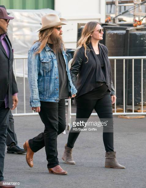 Chris Stapleton and pregnant Morgane Hayes are seen at 'Jimmy Kimmel Live' on December 04 2017 in Los Angeles California