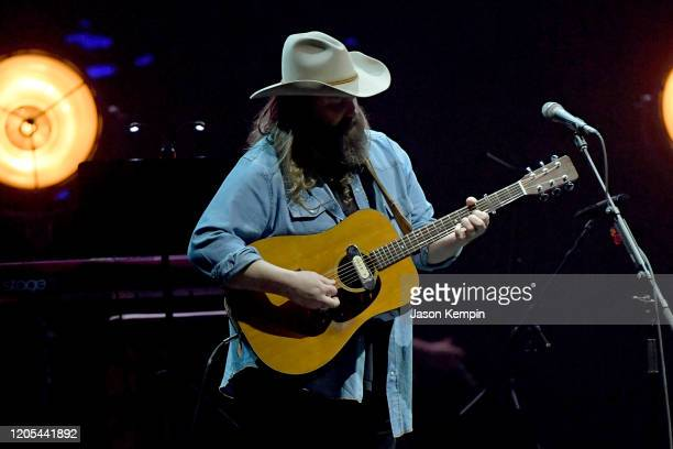 Chris Stapleton performs at All for the Hall: Under the Influence Benefiting the Country Music Hall of Fame and Museum at Bridgestone Arena on...