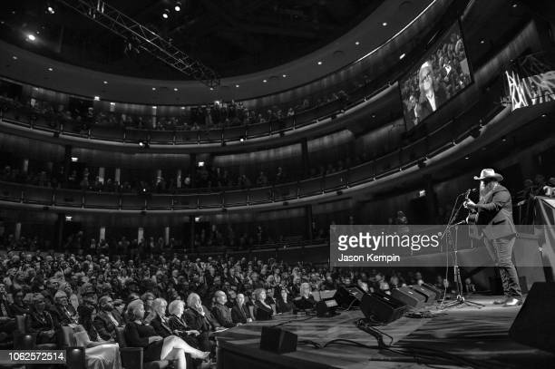Chris Stapleton performs during the Country Music Hall of Fame 2018 Medallion Ceremony honoring inductees Johnny Gimble Ricky Skaggs And Dottie West...