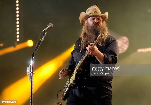 Chris Stapleton performs onstage during the 2018 CMA Music festival at Nissan Stadium on June 9 2018 in Nashville Tennessee