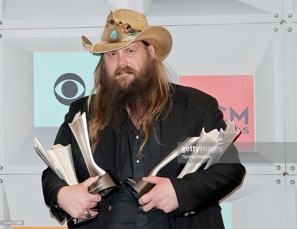 Chris Stapleton poses in the press room during the 51st Academy of Country Music Awards at MGM Grand Garden Arena on April 3, 2016 in Las Vegas, Nevada.