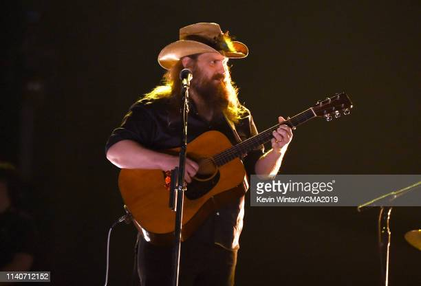Chris Stapleton rehearses onstage during the 54th Academy Of Country Music Awards at MGM Grand Garden Arena on April 04 2019 in Las Vegas Nevada
