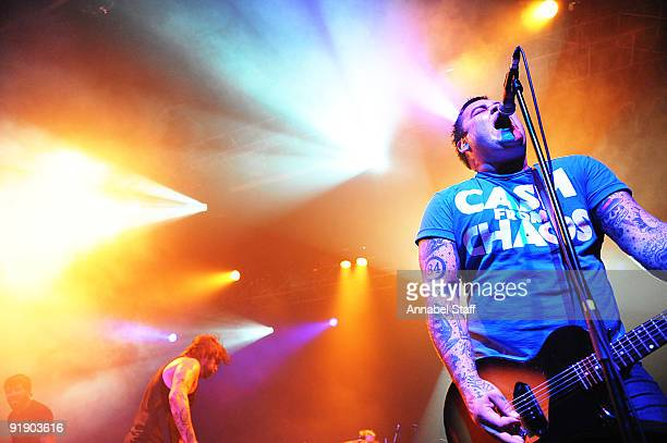 Chris Steel and Wade MacNeil of Alexisonfire perform on stage as part of the Eastpak Antidote Tour at The Forum on October 14 2009 in London England