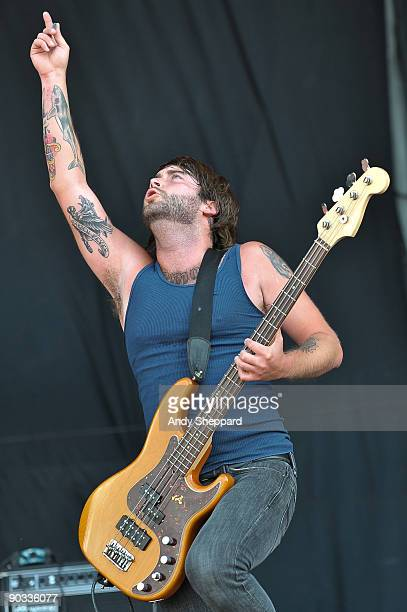 Chris Steel of Alexisonfire performs on stage on Day 1 of the Reading Festival 2009 on August 28 2009 in Reading England
