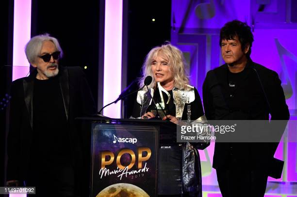 Chris Stein Debbie Harry and Clem Burke of Blondie accept the Golden Note Award onstage during the 36th annual ASCAP Pop Music Awards at The Beverly...
