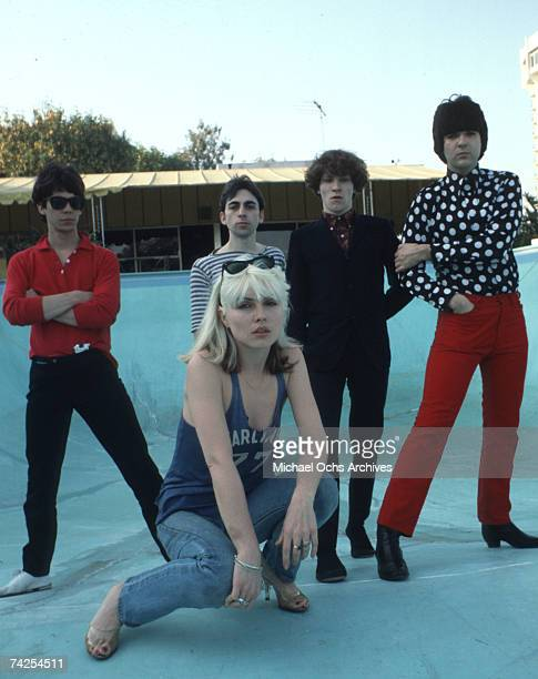 Chris Stein Jimmy Destri Debbie Harry Gary Valentine and Clem Burke of the rock and roll band Blondie pose for a portrait session at the Bel Air Sand...