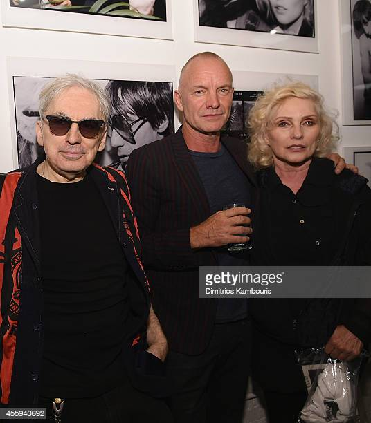 Chris Stein, Sting and Debbie Harry attend The 40th Anniversary Of Blondie exhibition at Chelsea Hotel Storefront Gallery on September 22, 2014 in...