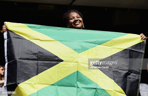 Chris Stennis of Houston Texas hold the flag of Jamaica before a match in the 2016 Copa America Centenario between Jamaica and Venezuela at Soldier...