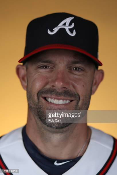 Chris Stewart of the Atlanta Braves poses for a photo during photo days at Champion Stadium on February 22 2018 in Lake Buena Vista Florida