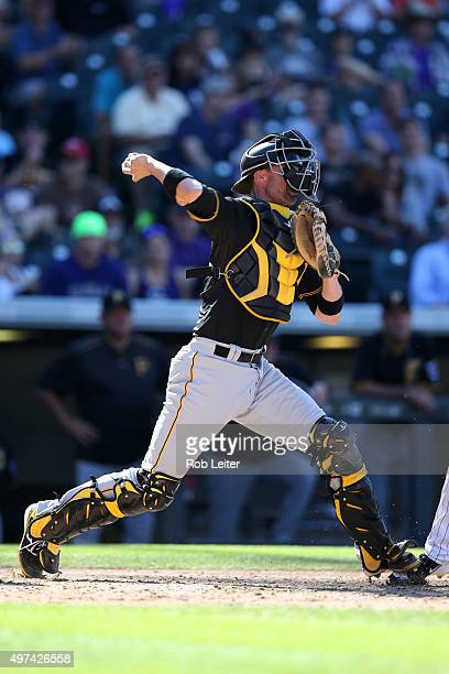 Chris Stewart of the Pittsburgh Pirates catches during the game against the Colorado Rockies at Coors Field on September 24 2015 in Denver Colorado...