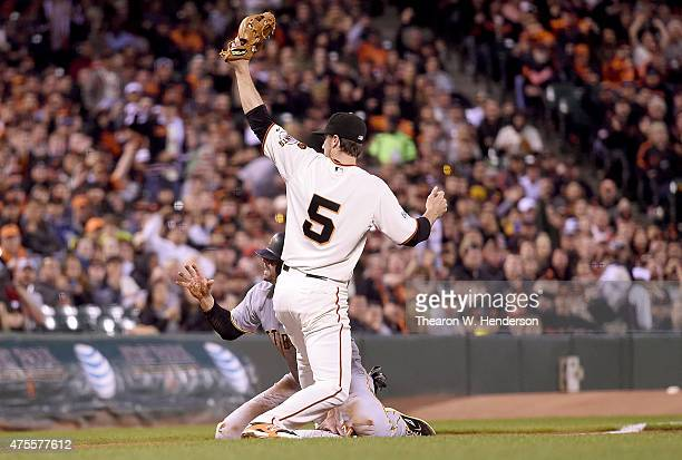 Chris Stewart of the Pittsburgh Pirates gets tagged out at third base by Matt Duffy of the San Francisco Giants in the top of the fifth inning at ATT...